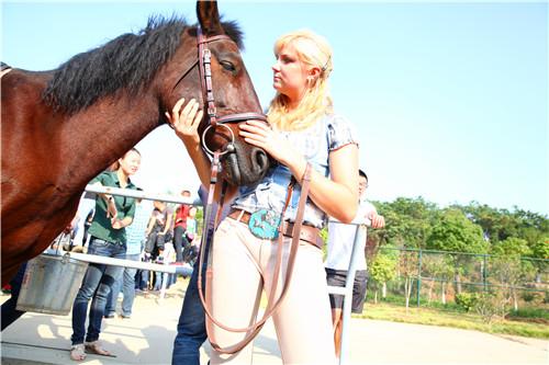 匈牙利美女骑士武汉高校教驯马
